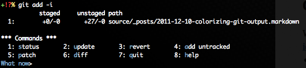 Colorized 'git add -i' output
