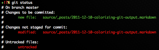 Colorized 'git status' output