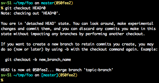 Output from 'git checkout HEAD^0' with advice