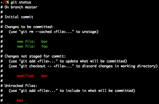 'git status' with advice