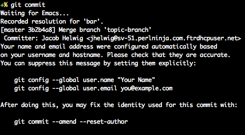Output from 'git commit' when your identity is guessed and advice is enabled